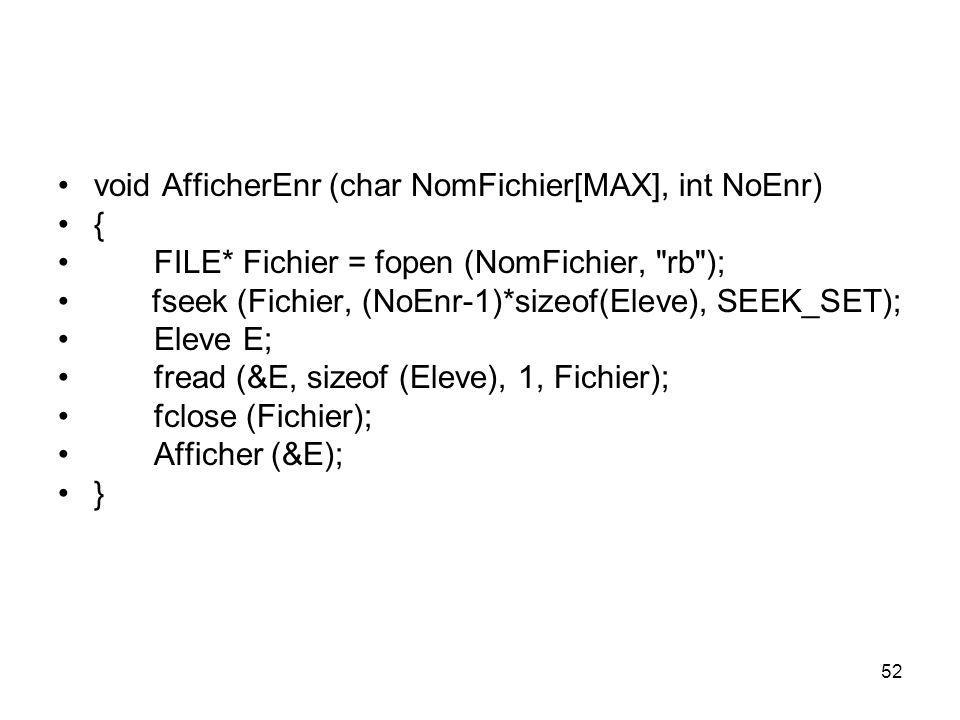 void AfficherEnr (char NomFichier[MAX], int NoEnr)